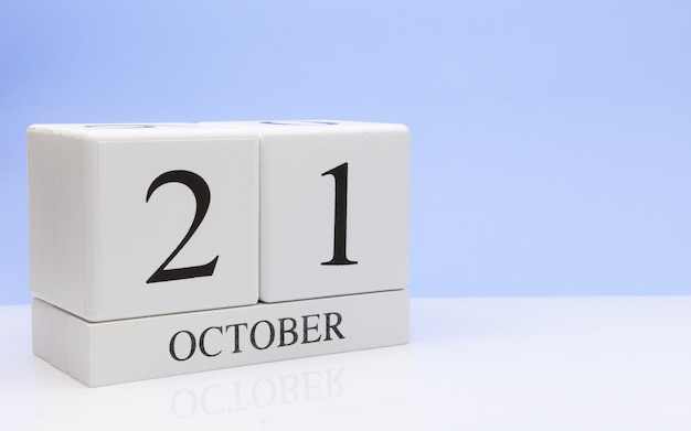October 21st. day 21 of month, daily calendar on white table