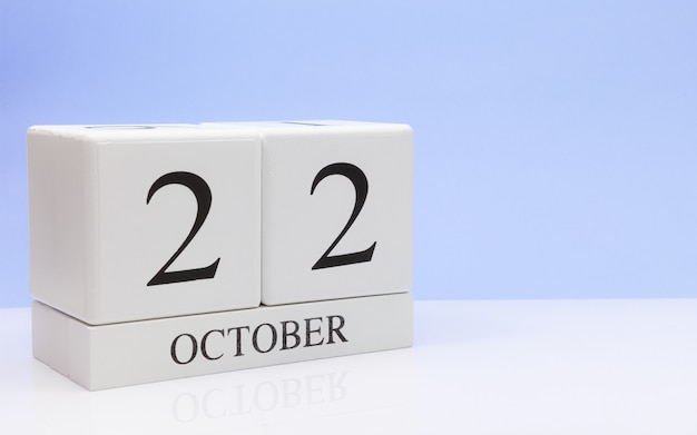 October 22st. day 22 of month, daily calendar on white table