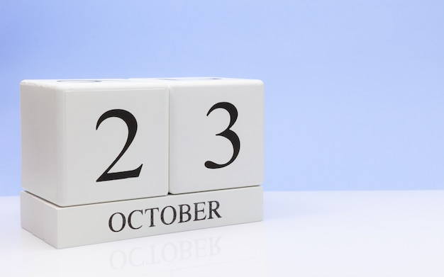 October 23st. day 23 of month, daily calendar on white table