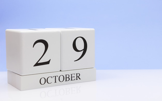 October 29st. day 29 of month, daily calendar on white table