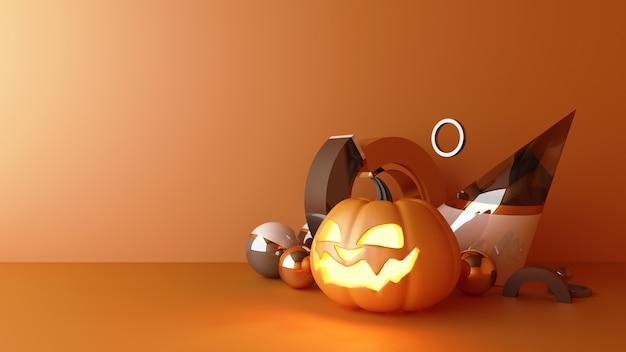 Октябрь хэллоуин тыква голова растет с геометрической формой с макетом подставки для продуктов на оранжевом фоне 3d-рендеринга