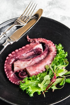 Octopus food in a plate seafood second course fresh ready to eat meal snack on the table copy space