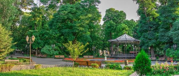 Odessa city garden in a summer morning
