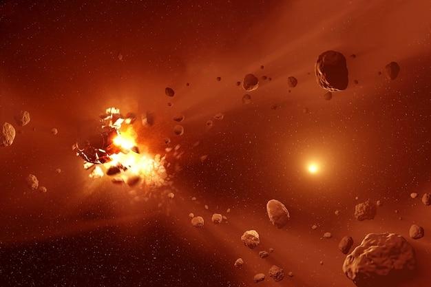О столкновении астероидов среди космической пыли. элементы этого изображения предоставлены наса для любых целей.