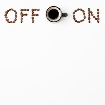 Off and on concept with coffee mug copy space