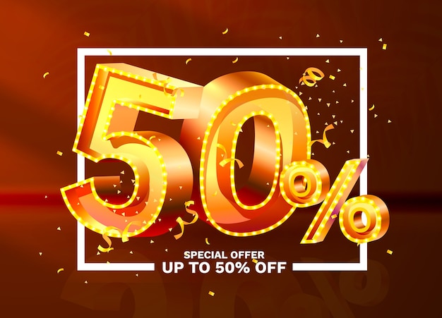 Off discount creative composition d golden sale symbol with decorative objects golden confetti sale ...