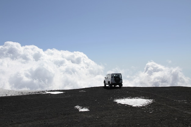 Off-road vehicle on mt etna volcano