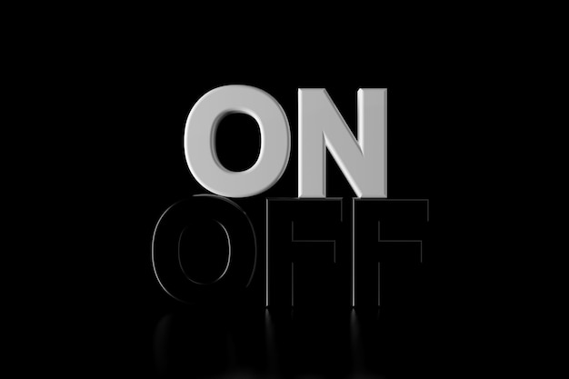 On and off text in the darkness
