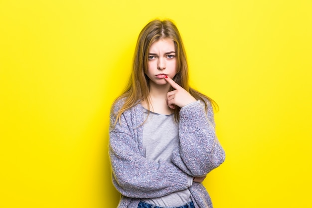 Offended teenager girl isolated