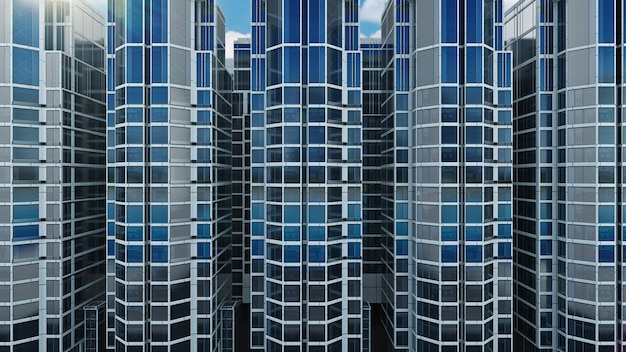 Office building on a background of the blue sky 3d rendering