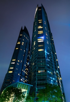 Office building in financial center at night
