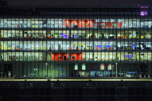 Office building at night glass curtain wall office building glasgow scotland