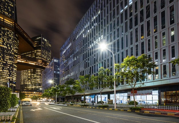 Office buildings and highways at night in the financial center, shenzhen, china