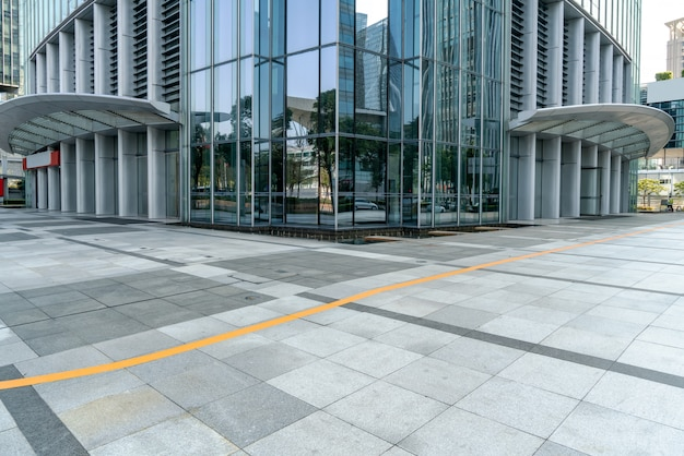 Office buildings and streets in shanghai financial district