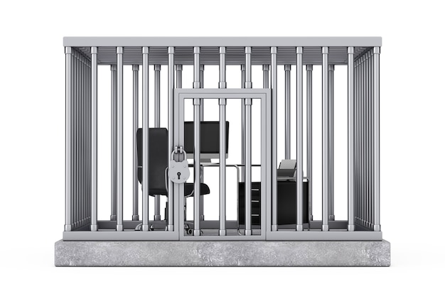 Office business working place in silver cage on a white background. 3d rendering