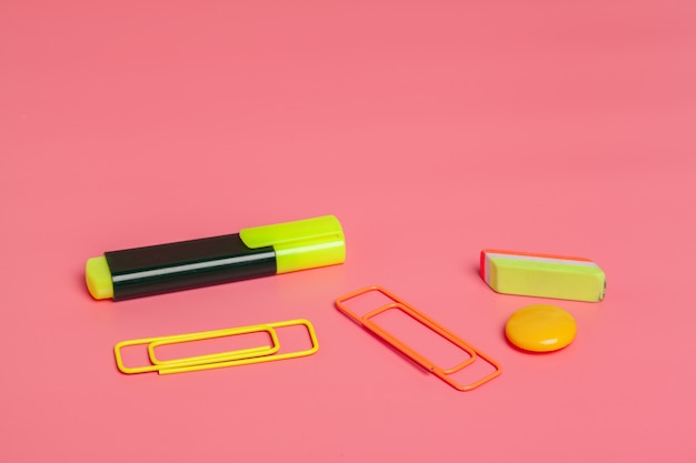 Office clips on bright pink