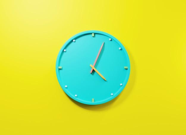 オフィスの時計アイコン時間の矢印3dレンダリングイラストと丸いビジネス青い時計