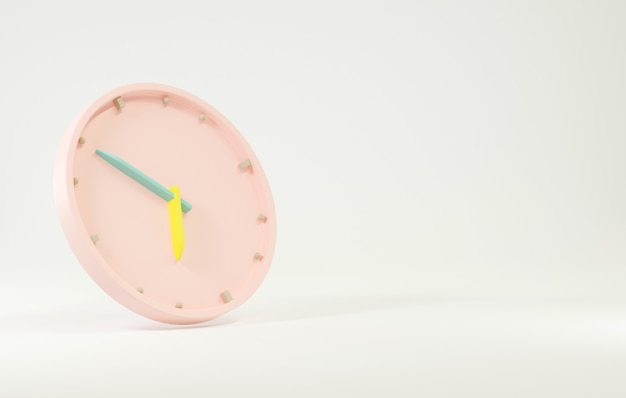 オフィスの時計のアイコン時間の矢印の時間と分の3dレンダリングと丸いビジネスピンクの時計