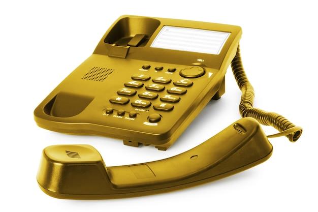 사무실 통신 기술. 흰색 절연 수신기와 전화