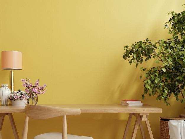 노란색 벽, 3d 렌더링 사무실 책상 인테리어