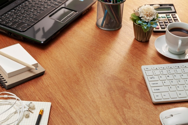 Office desk table of business workplace and business objects