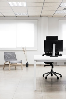 Office desk with computer arrangement