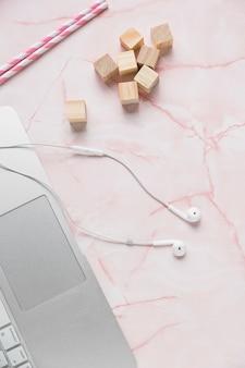 Office desktop with earphones