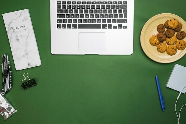 Office desktop with laptop