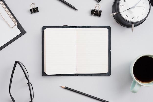 Office desktop with a notebook