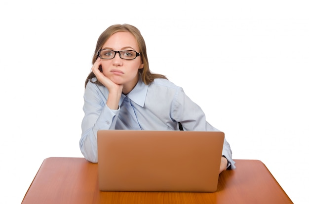 Office employee at work table with laptop isolated