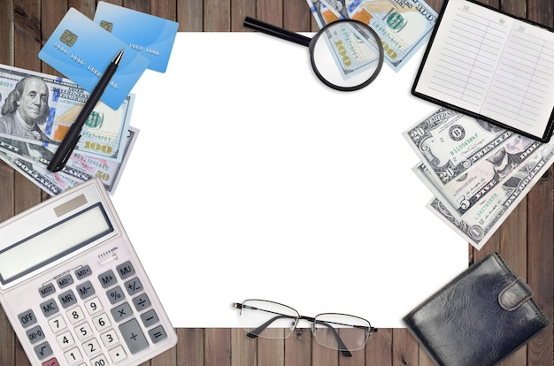 オフィスフラットレイアウト構成電卓、アドレス帳、その他のオフィスアイテム