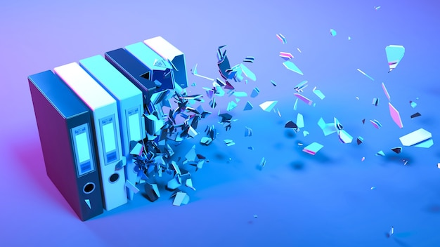 Office folders in neon light falling apart into small parts, 3d illustration