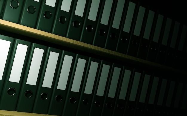 Офисные папки на книжной полке.