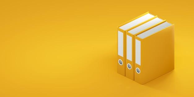 Офисные папки на желтом фоне. 3d визуализация