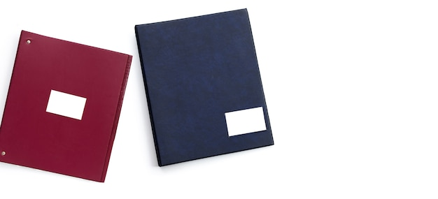 Office folders on white surface