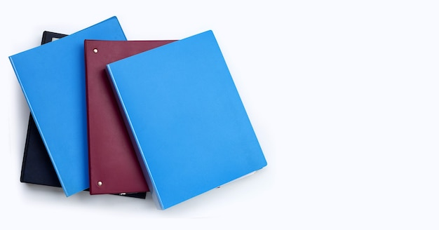 Office folders  on white top view