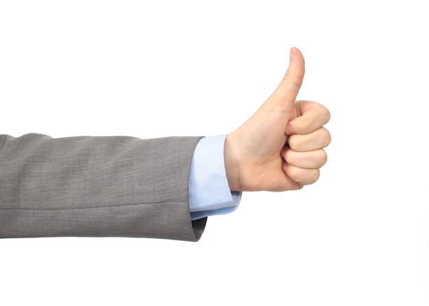 Офисная рука показывает большой палец ноги. изолированные на белом фоне
