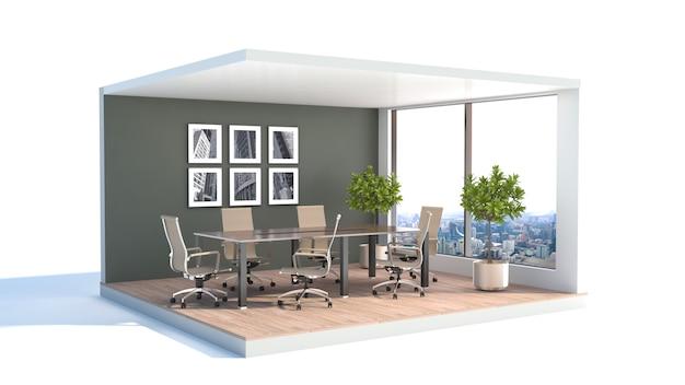 Office interior. job. 3d illustration