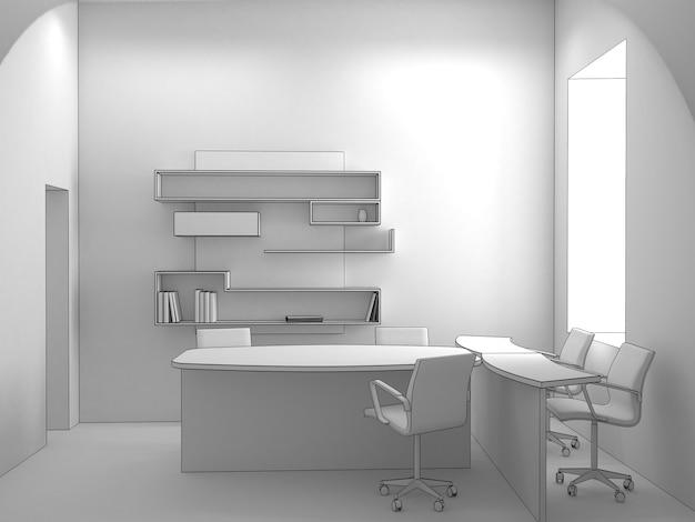 Офис, визуализация интерьера, 3д иллюстрация