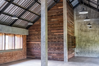 Office interior with wooden walls space
