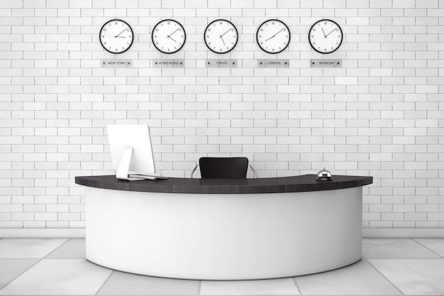 벽돌 벽 앞에 리셉션 데스크가 있는 사무실 로비. 3d 렌더링