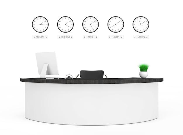 흰색 배경에 리셉션 데스크가 있는 사무실 로비. 3d 렌더링