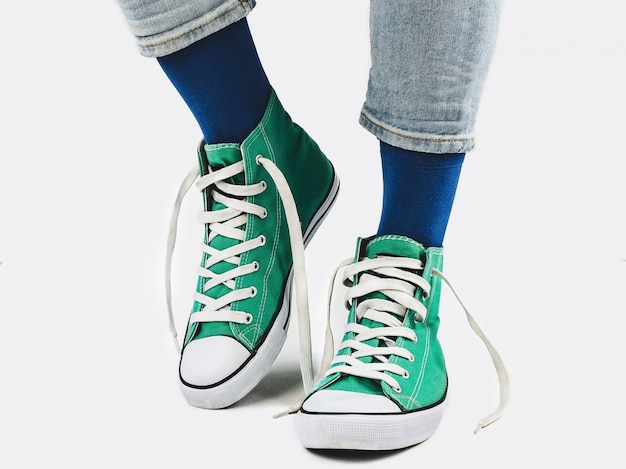 Office manager, stylish sneakers and multicolored socks