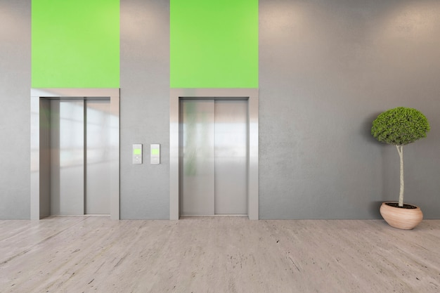 Office open space lobby ecological interior with concrete floor, wooden ceiling, reception, lift. 3d render illustration mock up.