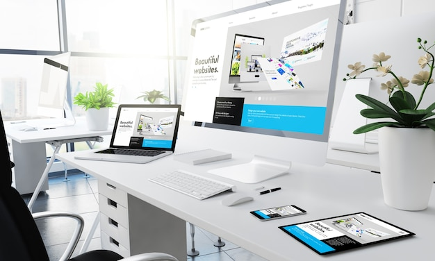 Office responsive devices builderwebsite 3d rendering