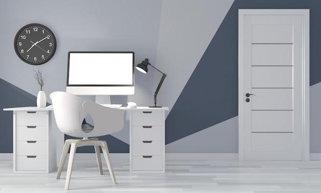 Office room geometric wall on wood floor. 3d rendering