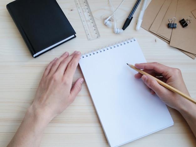 Office set studying work creativity subjects inscription