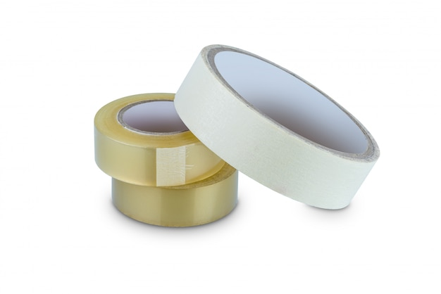 Office stationary roll of glue tape, masking tape and scotch tape isolated