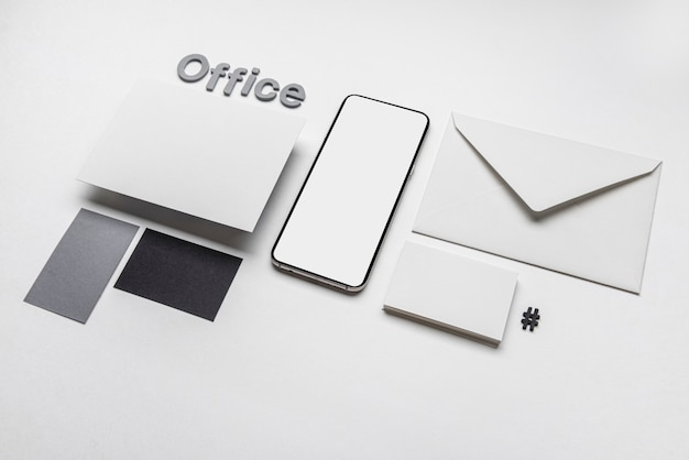 Office stationery business visiting cards and phone