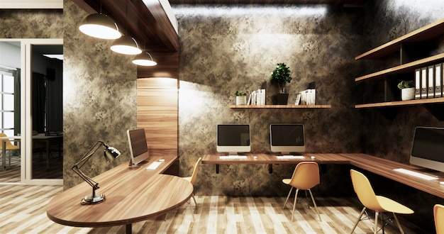 Office studio loft style interior design concrete wall gray glossy on wooden tiles